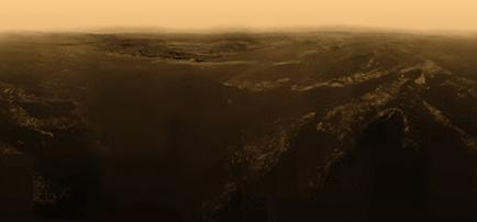 Titan Colour Corrected Panorama stitched together by Christian Waldvogel from ESA/NASA/Arizona images