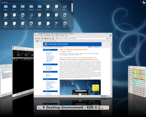 """My KDE 4.1 desktop with the \""""Cover Switch\"""" alt-tab window selector"""