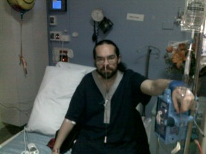 Chris with naso-gastric tube, drip and generally unwell