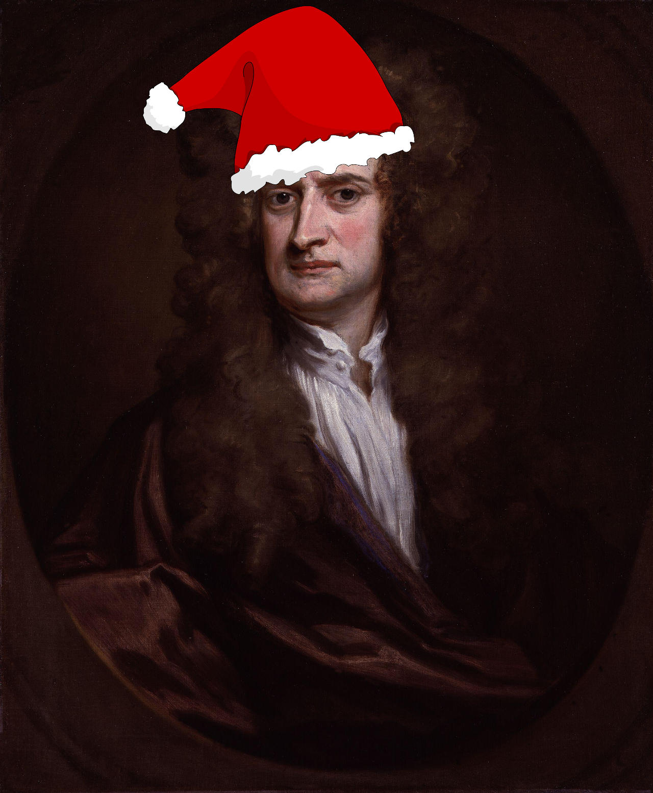 Sir Isaac Newton, with hat.