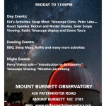 Mount Burnett Observatory Open Day – 23rd February 2016 – noon until late!