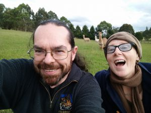 Polly and Chris at the farm-stay for our wedding anniversary