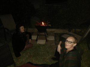 Polly and Morghana enjoying the fire!